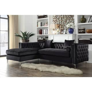 Chic Home Monet Velvet Modern Contemporary On Tufted With Silver Nailhead Trim Left Facing Sectional Sofa