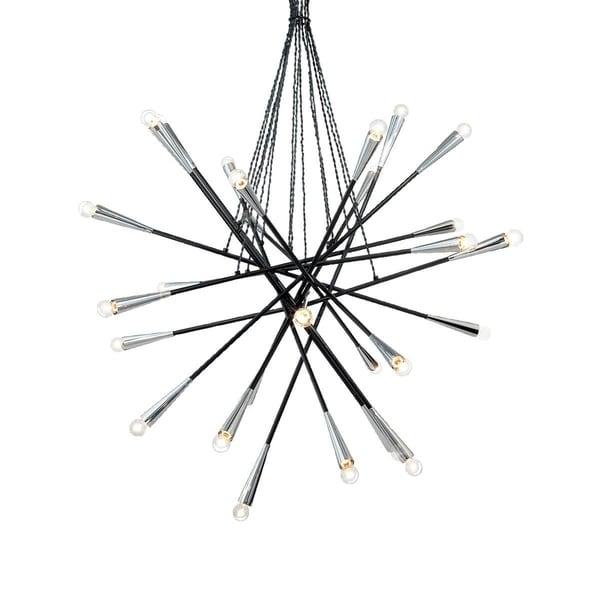 "Eurofase Zazu 28-Light Pendant, Black Finish - 19800-011 - 44"" high x 44"" in diameter"