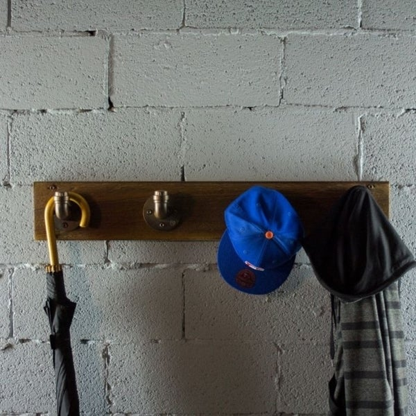Furniture Pipeline San Antonio Farmhouse Industrial Wall Mounted 4-Hook Coat Rack