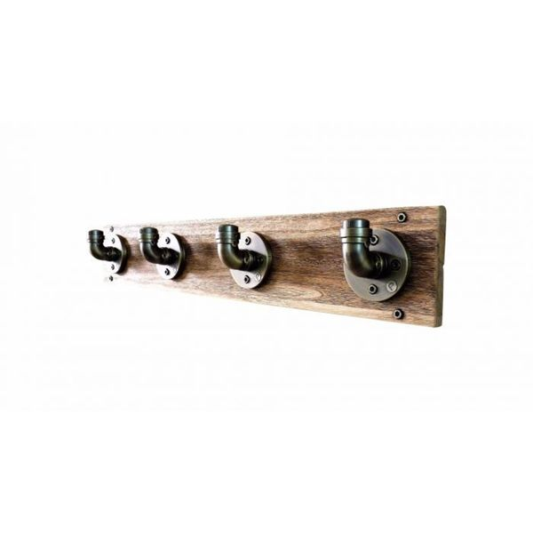 San Antonio 4 Hook Metal Industrial Wall Mounted Entryway Hat Coat Rack  With Reclaimed Wood