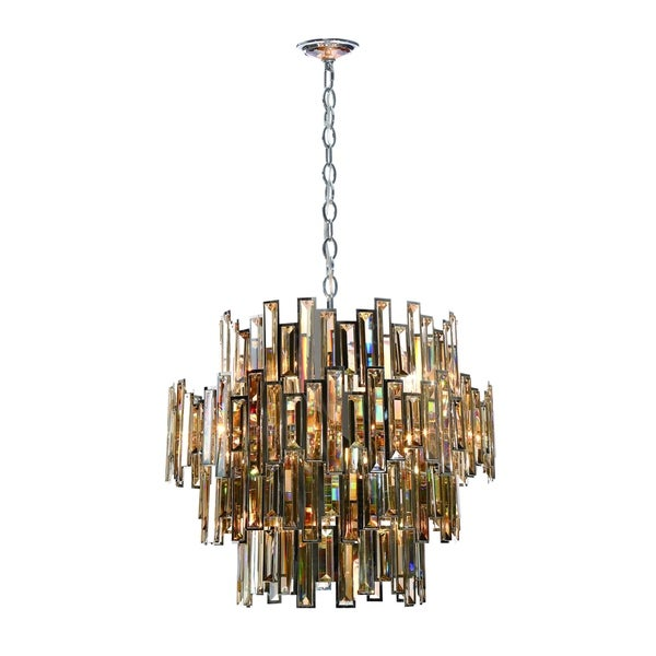 Eurofase Vienna Glittering Crystal 15-Light Chandelier, Framed Champagne Crystal and Chrome Finish - 31890-014