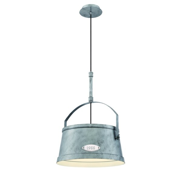 "Eurofase Turin Vintage Bucket Large Light Pendant, Rustic Antique Silver Finish - 31871-013 - 23"" high x 16.25"" in diameter"