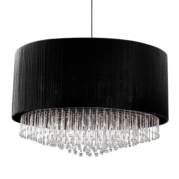 Eurofase Penchant 12-Light Circular Pendant, Black Finish, Black Pleated Chiffon Shade - 20587-017