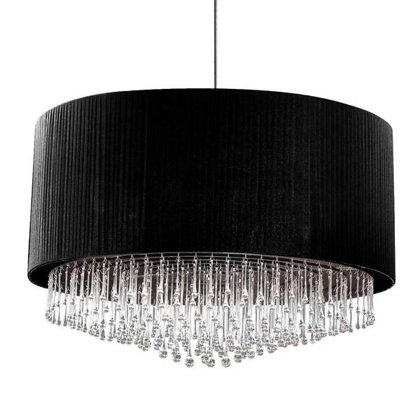 Eurofase Penchant 12-Light Circular Pendant, Black Finish, Black Pleated Chiffon Shade - 20587-017
