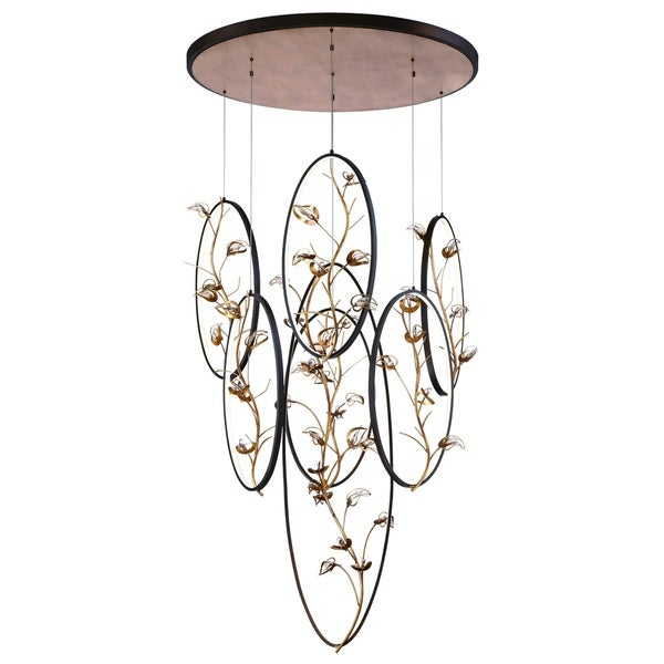 Eurofase Peralta LED Ring Chandelier, Bronze Rings Suspended with Antique Gold Leaf Branches and Crystal Details - 31392-013