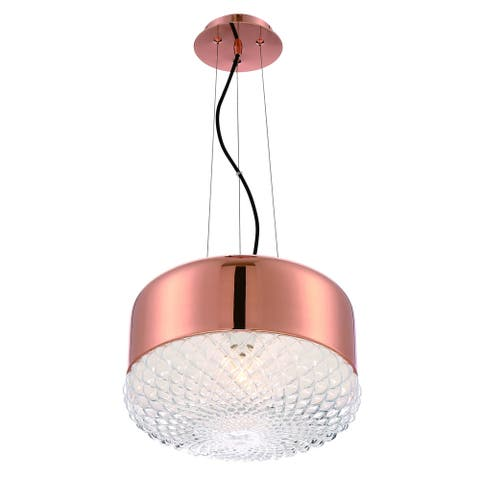 Eurofase Corson Modern Large Light Pendant, Polished Rose Gold Metal Shade with Casted Weave Glass - 31869-034