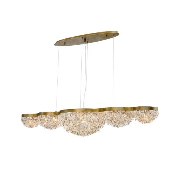 Eurofase Mondo Clustered Crystal Orb Linear 15-Light Chandelier, Antique Gold Finish with Cognac and Clear Crystals - 31831-017