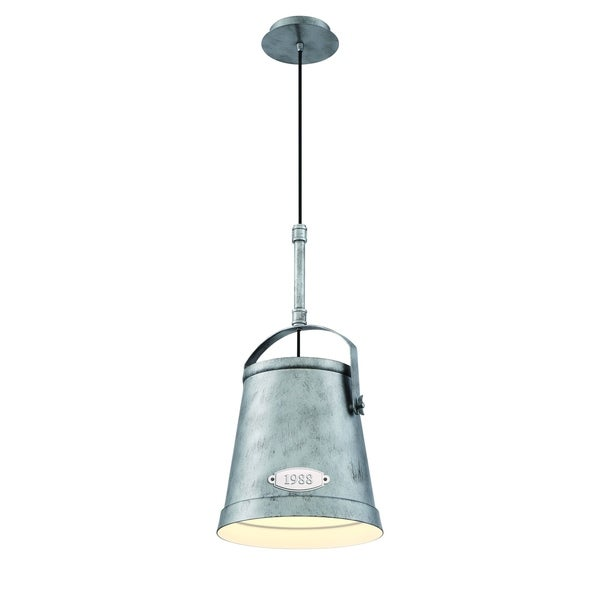 Eurofase Turin Vintage Bucket Small Light Pendant, Rustic Antique Silver Finish - 31870-016