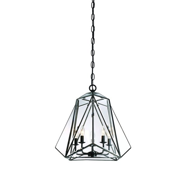 Eurofase Glacier 5-Light Pendant Lantern, Hand Crafted Bronze Frame with glass shade - 31646-017