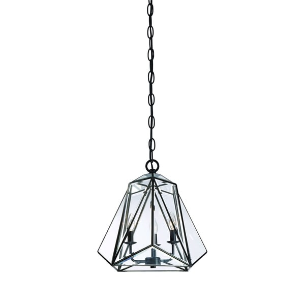 """Eurofase Glacier 3-Light Pendant Lantern, Hand Crafted Bronze Frame and Glass Shade - 31645-010 - 16.75"""" high x 17"""" in diameter"""