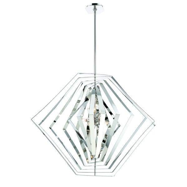 "Eurofase Downtown Adjustable Modern 10-Light Chandelier, Hand Polished Chrome Finish - 31888-011 - 36.5"" high x 45"" in diameter"