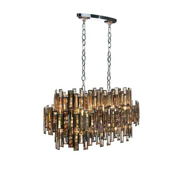Eurofase Vienna Glittering Crystal Oval 16-Light Chandelier, Framed Champagne Crystal and Chrome Finish - 31892-018