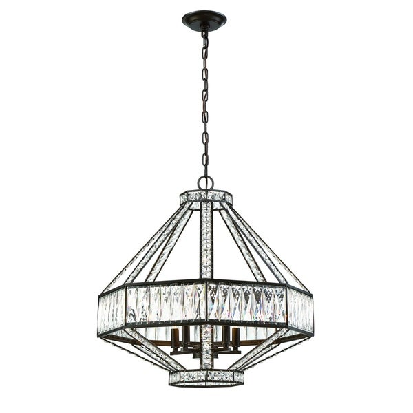Eurofase Bellezza Geometric 5-Light Chandelier with Luxurious Crystals, Bronze Finish - 31883-016
