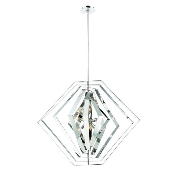 "Eurofase Downtown Adjustable Modern 6-Light Chandelier, Hand Polished Chrome Finish - 31887-014 - 27.5"" high x 33"" in diameter"