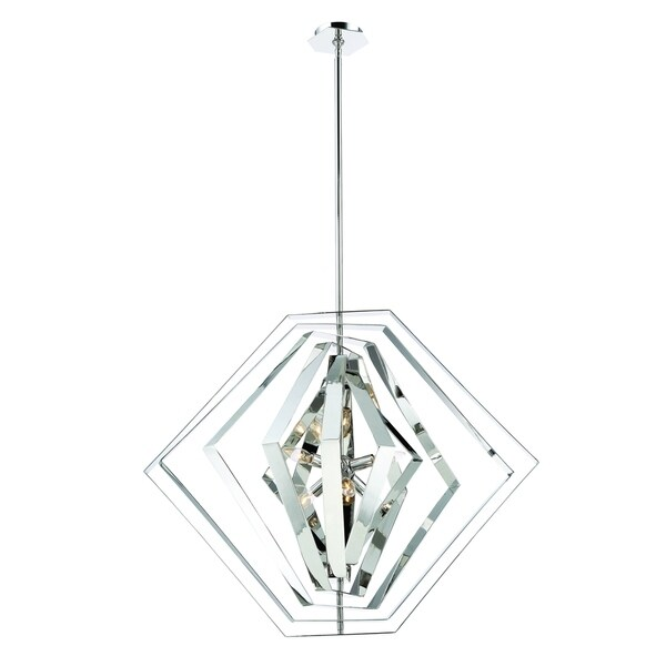 Eurofase Downtown Adjustable Modern 6-Light Chandelier, Hand Polished Chrome Finish - 31887-014