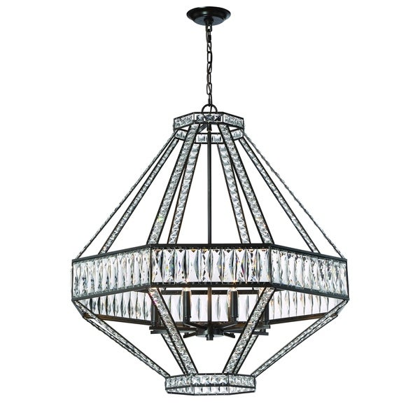 "Eurofase Bellezza Geometric 8-Light Chandelier with Luxurious Crystals, Bronze Finish - 31884-016 - 33.5"" high x 33"" in diameter"