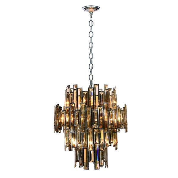 Eurofase Vienna Glittering Crystal 12-Light Chandelier, Framed Champagne Crystal and Chrome Finish - 31891-011