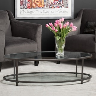 Studio Designs Home Camber Collection Slate Grey Steel/ Glass 48-inch Oval Coffee Table
