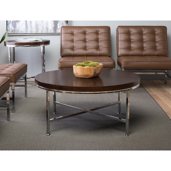 Studio Designs Home Pergola Brown Wood 38-inch Round Contemporary Coffee Table