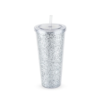 Glam Silver Double Walled Glitter Tumbler by Blush