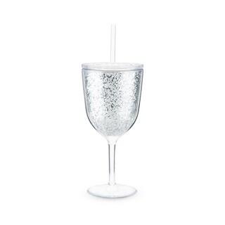 Glitz Silver Double Walled Glitter Wine Glass by Blush
