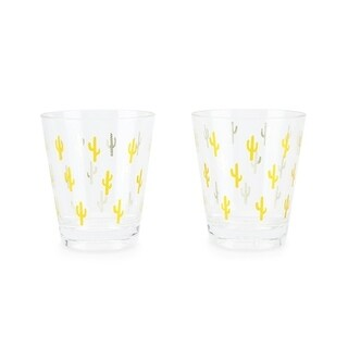 Gold Cactus Acrylic Cups (set of 2)