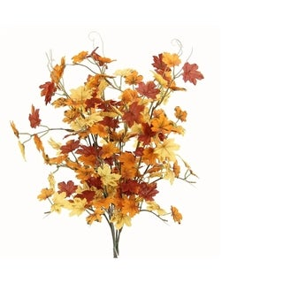 6 Stems Artificial Maple Leaves Bush for Gift, Home office Decor