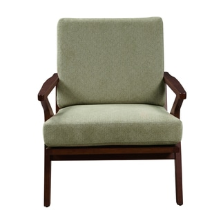 Mid Century Sage Green Wood Accent Arm Chair