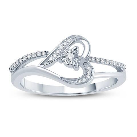 Cali Trove 1/10 Carat Round Diamond Heart Ring In Sterling Silver. - White