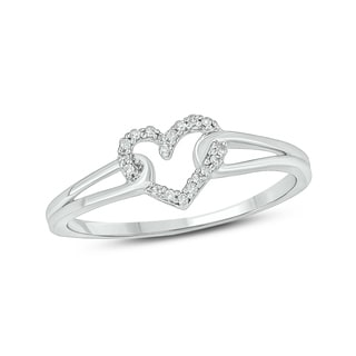 Cali Trove 10kt White Gold 1 20ct TDW Diamond Accent Heart Ring