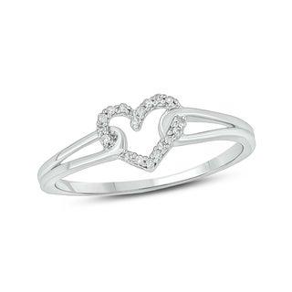 Cali Trove 1/20 Carat Round Diamond Accent Heart Ring In 10K White Gold.