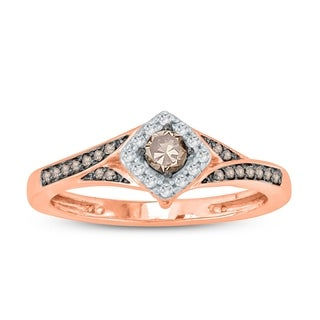 1/4 Carat White & Champagne Diamond halo Engagement Ring In 10K Rose Gold.