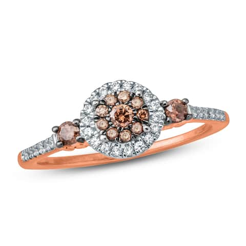 Cali Trove 1/3 Carat White & Champagne Diamond Composite Engagement Ring 10K Rose Gold.