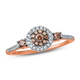 1/3 Carat White & Champagne Diamond Composite Engagement Ring 10K Rose Gold.