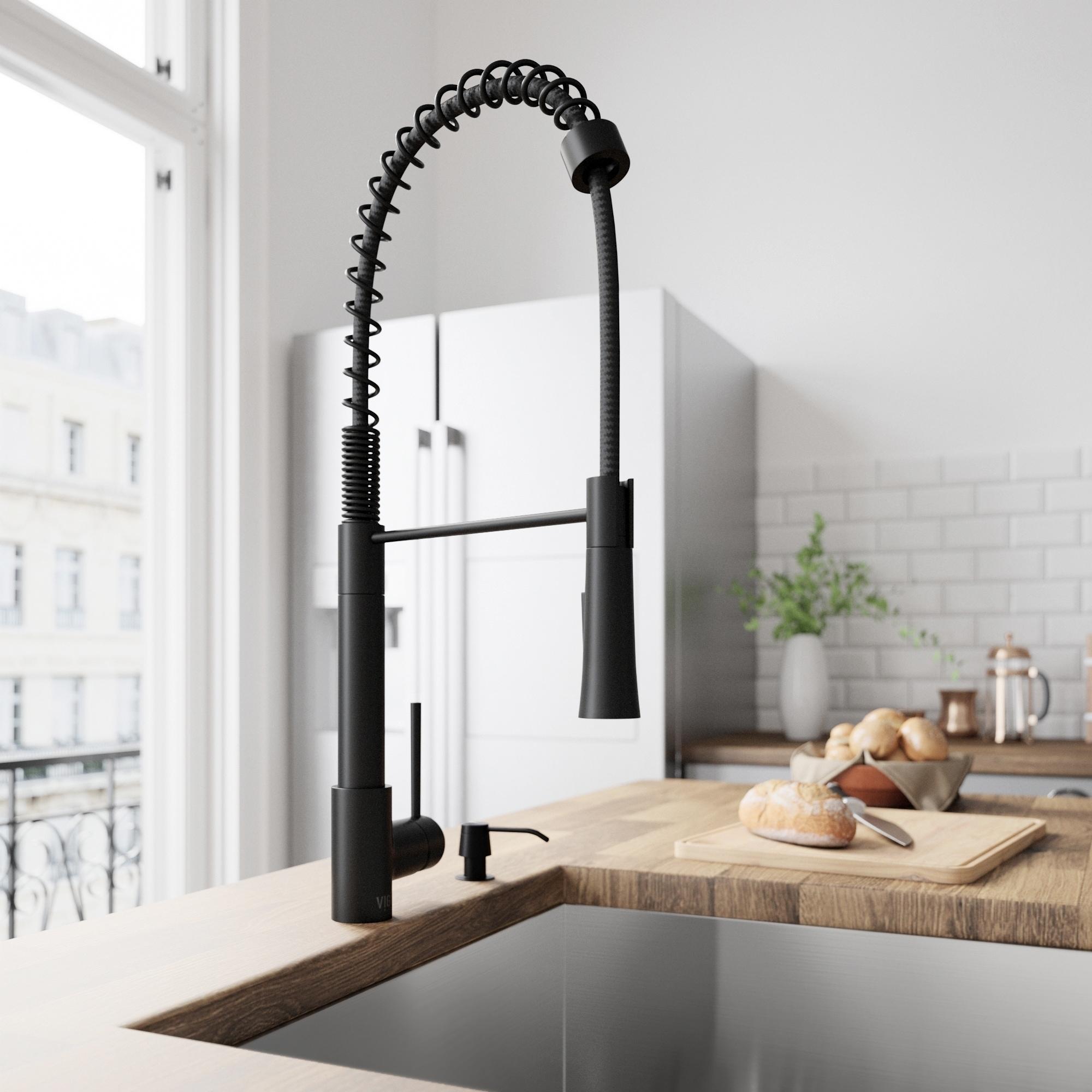 Vigo Laurelton Pull Down Spray Kitchen Faucet In Matte Black vigo laurelton matte black pull-down spray kitchen faucet