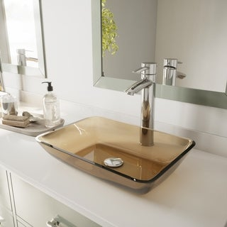 VIGO Rectangular Sheer Sepia Glass Vessel Bathroom Sink