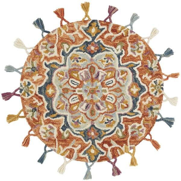 Hand-hooked Rosemarie Orange/ Multi Wool Rug (3' Round) - 3' x 3' Round