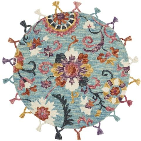 Alexander Home Sophie Medallion Sky Hand-hooked 100% Wool Tassel Rug - 3' x 3' Round - 3' x 3' Round