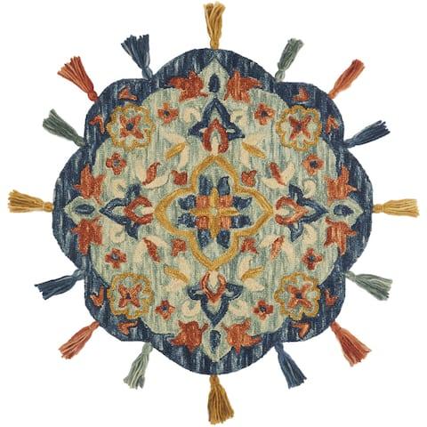 Alexander Home Sophie Medallion Spice Hand-Hooked 100% Wool Tassel Rug - 3' x 3' Round - 3' x 3' Round