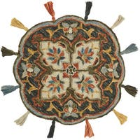 Hand-hooked Rosemarie Charcoal Wool Rug (3' Round Scallop) - 3' x 3' Round