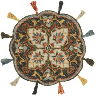 Hand-hooked Rosemarie Charcoal Wool Rug (3' Round Scallop)