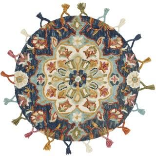 Hand-hooked Rosemarie Navy Blue Wool Rug (3' Round) - 3' x 3' Round