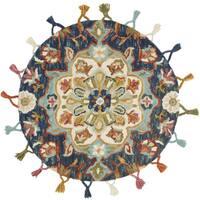 Hand-hooked Rosemarie Navy Blue Wool Rug (3' Round) - 3' x 3'