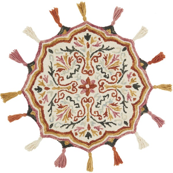 Hand-hooked Rosemarie Ivory/ Spice Wool Rug (3' Round Scallop) - 3' x 3' Round