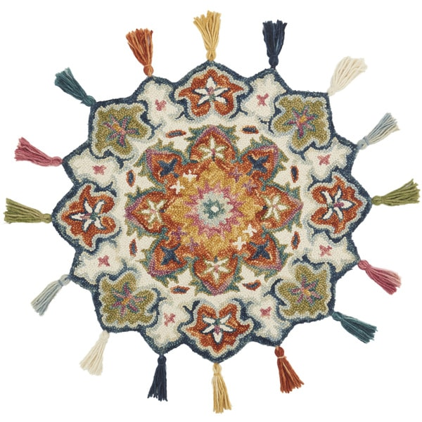 Hand-hooked Rosemarie Ivory/ Rust Wool Rug (3' Round Scallop) - 3' x 3' Round