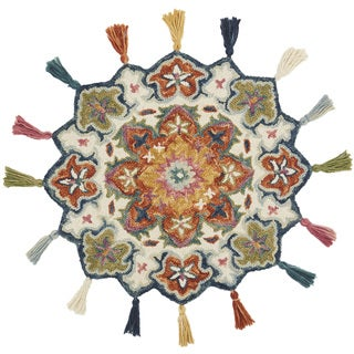 Hand-hooked Rosemarie Ivory/ Rust Wool Rug (3' Round Scallop) - 3' x 3' Round