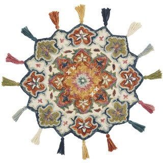 Hand-hooked Rosemarie Ivory/ Rust Wool Rug (3' Round Scallop)