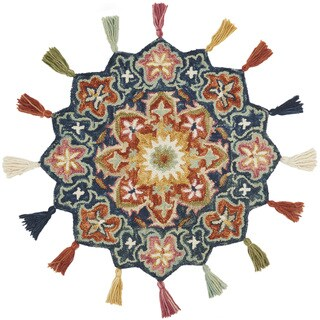 Hand-hooked Rosemarie Navy Blue/ Rust Wool Rug (3' Round Scallop) - 3' x 3' Round