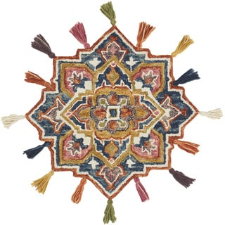 Hand-hooked Rosemarie Navy/ Spice Wool Rug (3' Round Scallop) - 3' x 3' Round