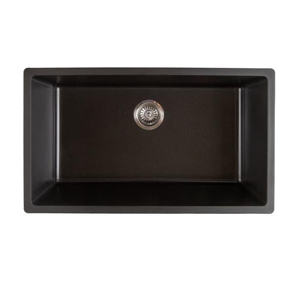Titan Quartz Undermount 31 in. Single Bowl Kitchen Sink with Strainer